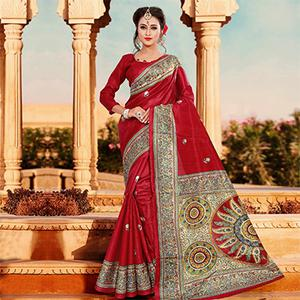 Lovely Red Printed Bhagalpuri Silk Saree