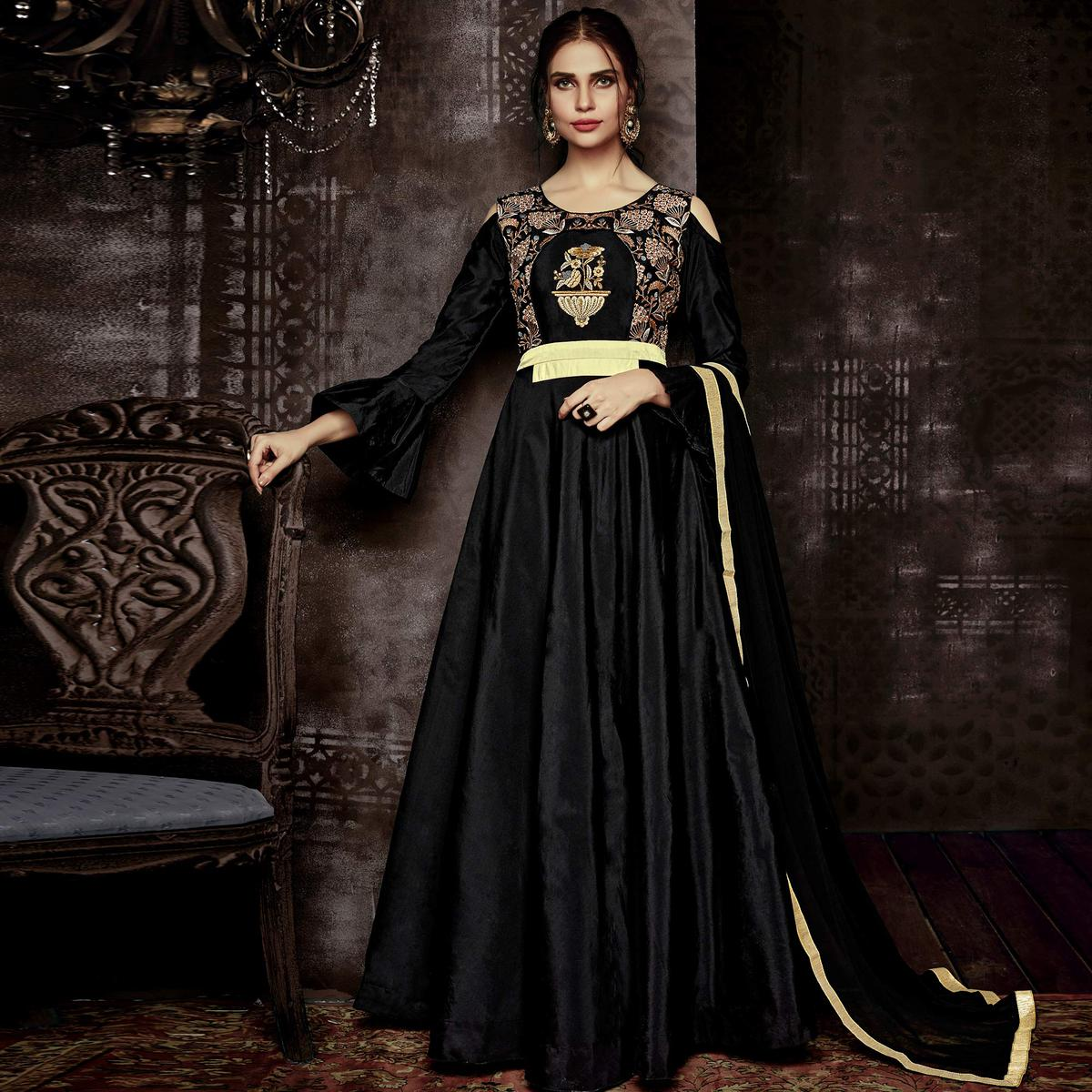 Glorious Black Colored Party Wear Embroidered Tapetta Silk Gown