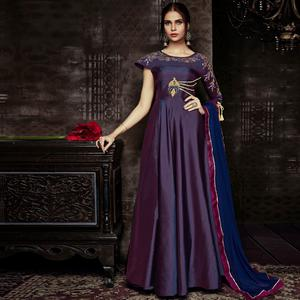 Graceful Purple Colored Party Wear Embroidered Tapetta Silk Gown