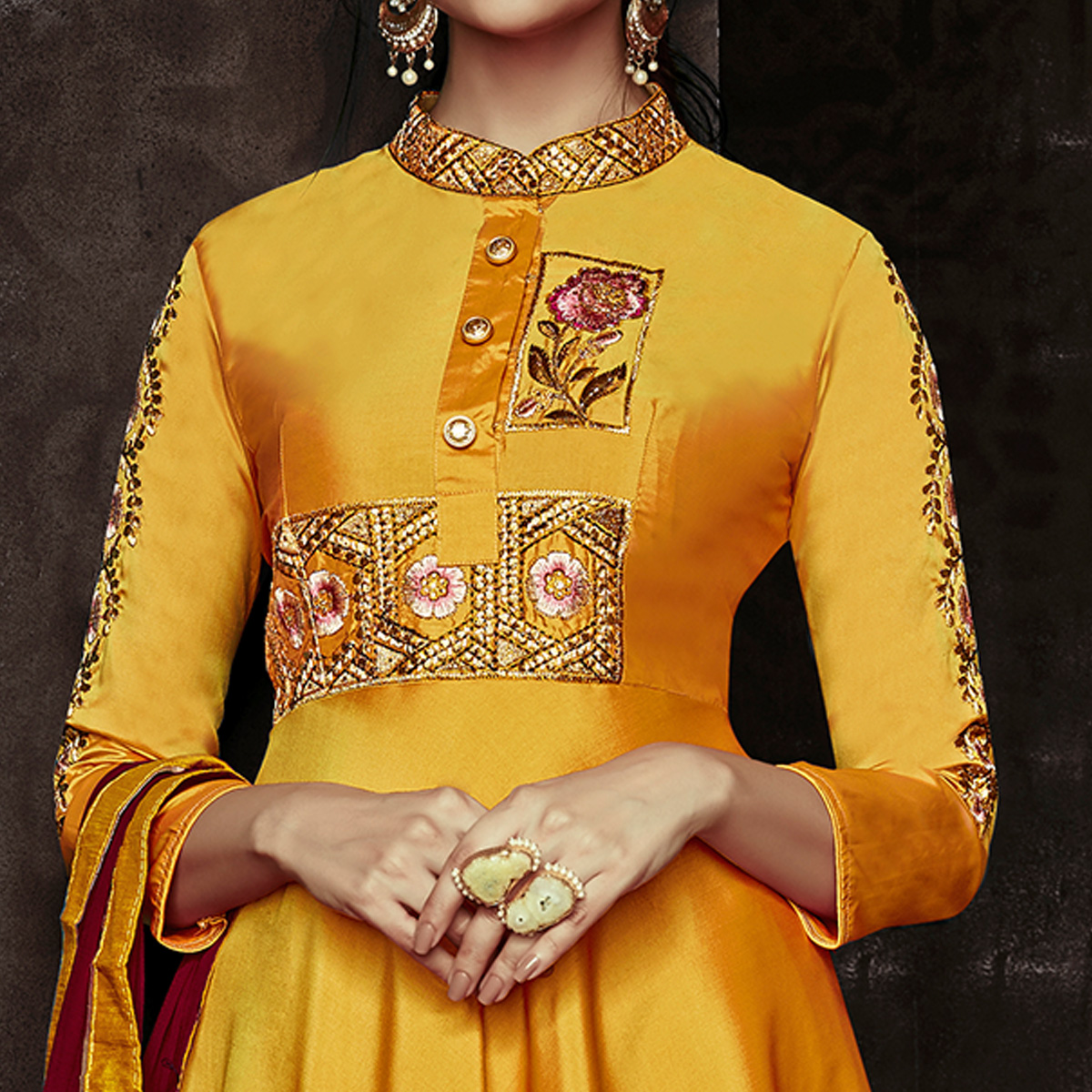 Lovely Mustard Yellow Colored Party Wear Embroidered Tapetta Silk Gown