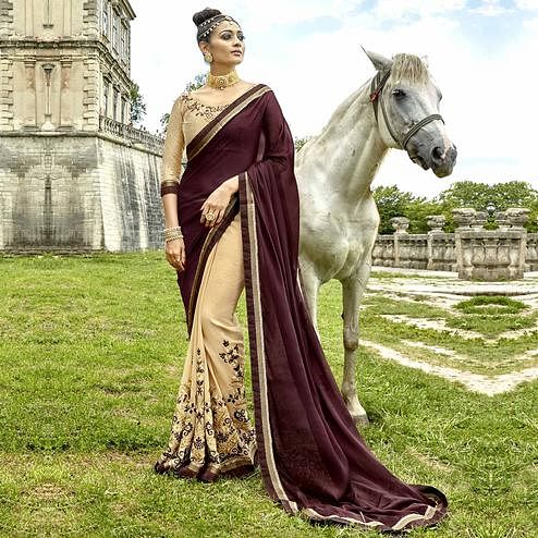 Elegant Brown-Beige Colored Partywear Embroidered Georgette Half-Half Saree