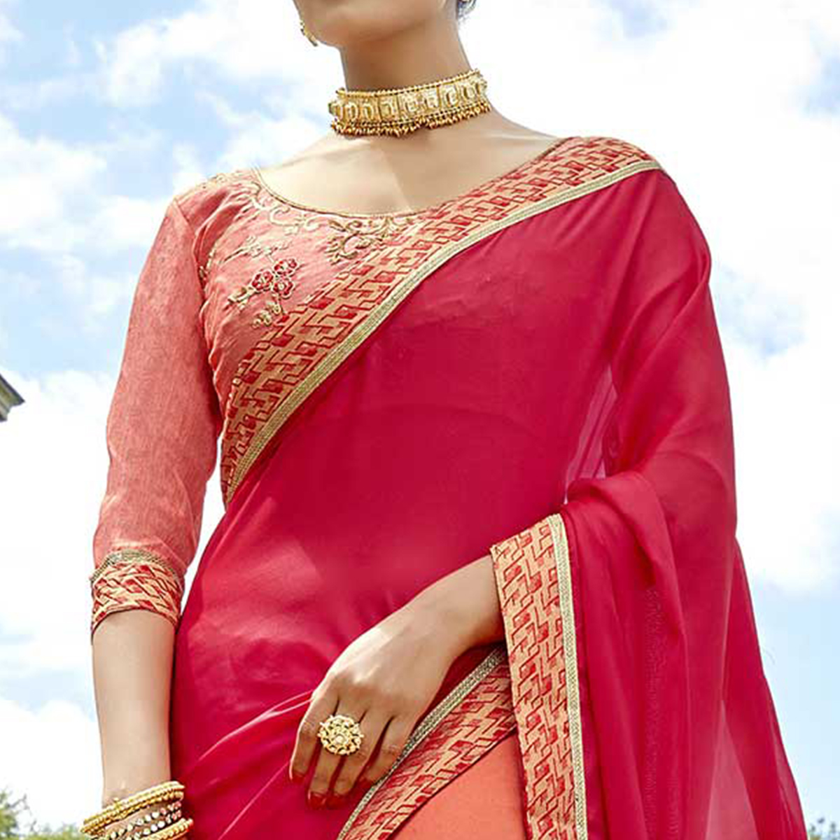Mesmerising Dark Pink-Peach Colored Partywear Embroidered Georgette Half-Half Saree