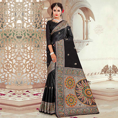 Lovely Black Printed Bhagalpuri Silk Saree
