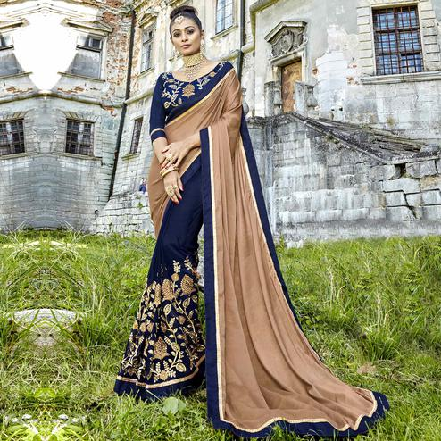 Eye-Catching Beige-Dark Blue Colored Partywear Embroidered Silk-Georgette Half-Half Saree