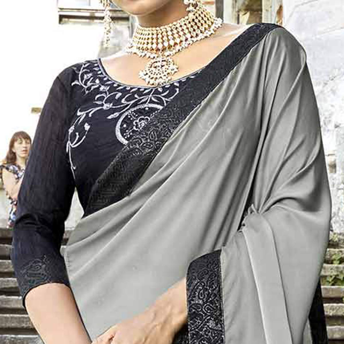 Majestic Gray-Black Colored Partywear Embroidered Silk-Georgette Half-Half Saree