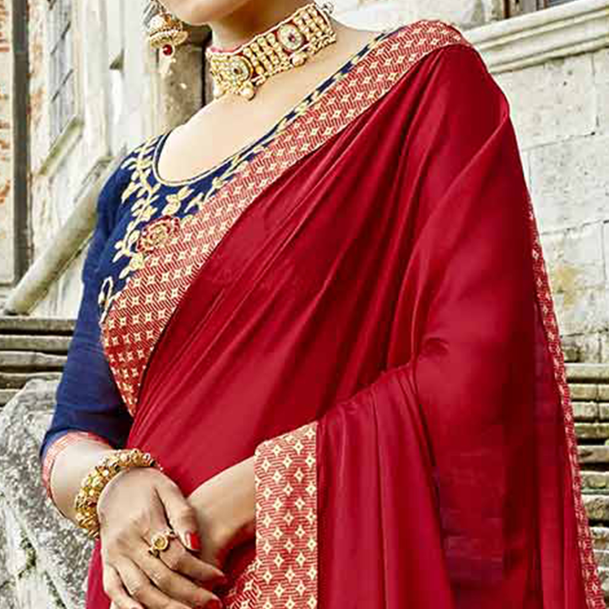 Energetic Red-Blue Colored Partywear Embroidered Silk-Georgette Half-Half Saree