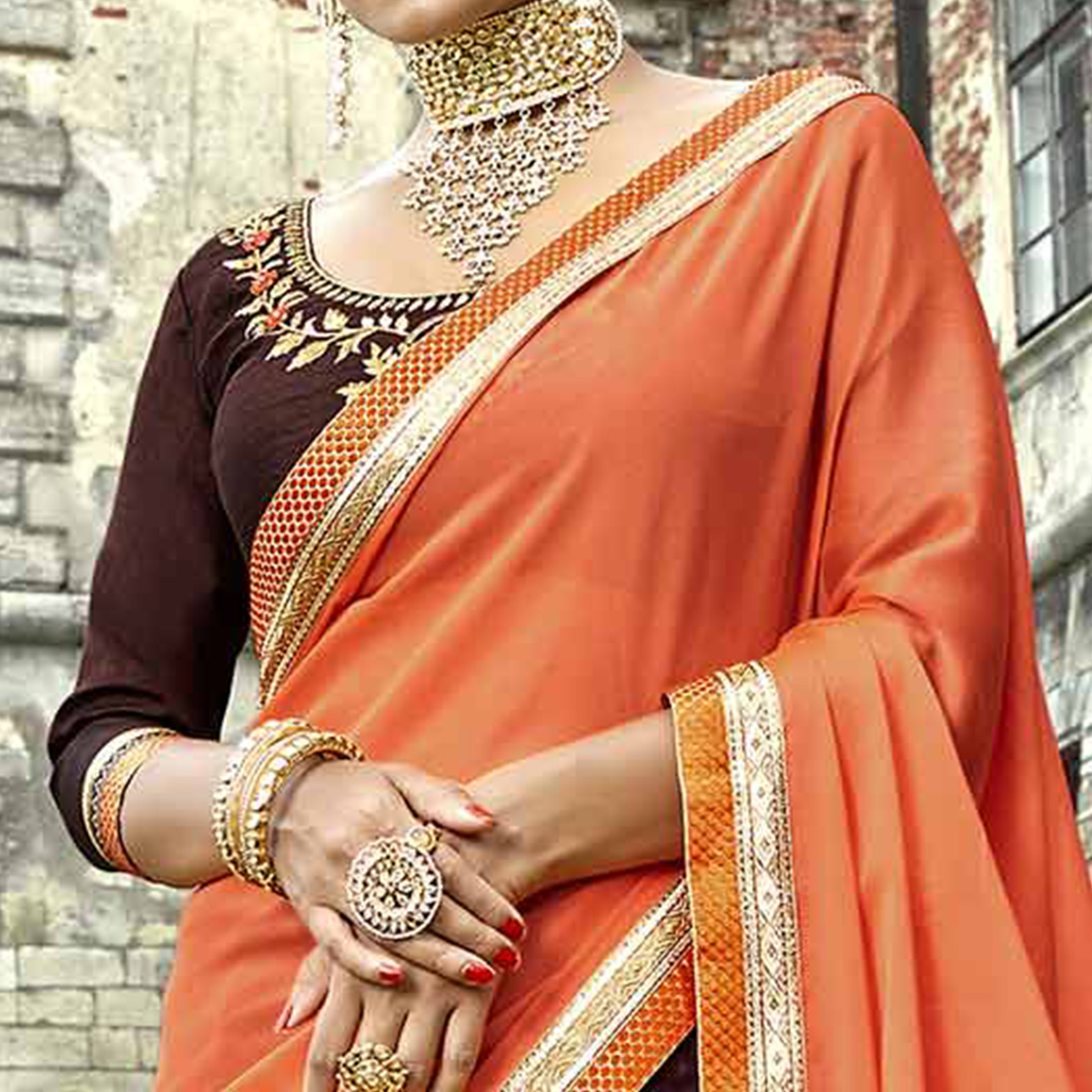 Demanding Orange-Brown Colored Partywear Embroidered Silk-Georgette Half-Half Saree