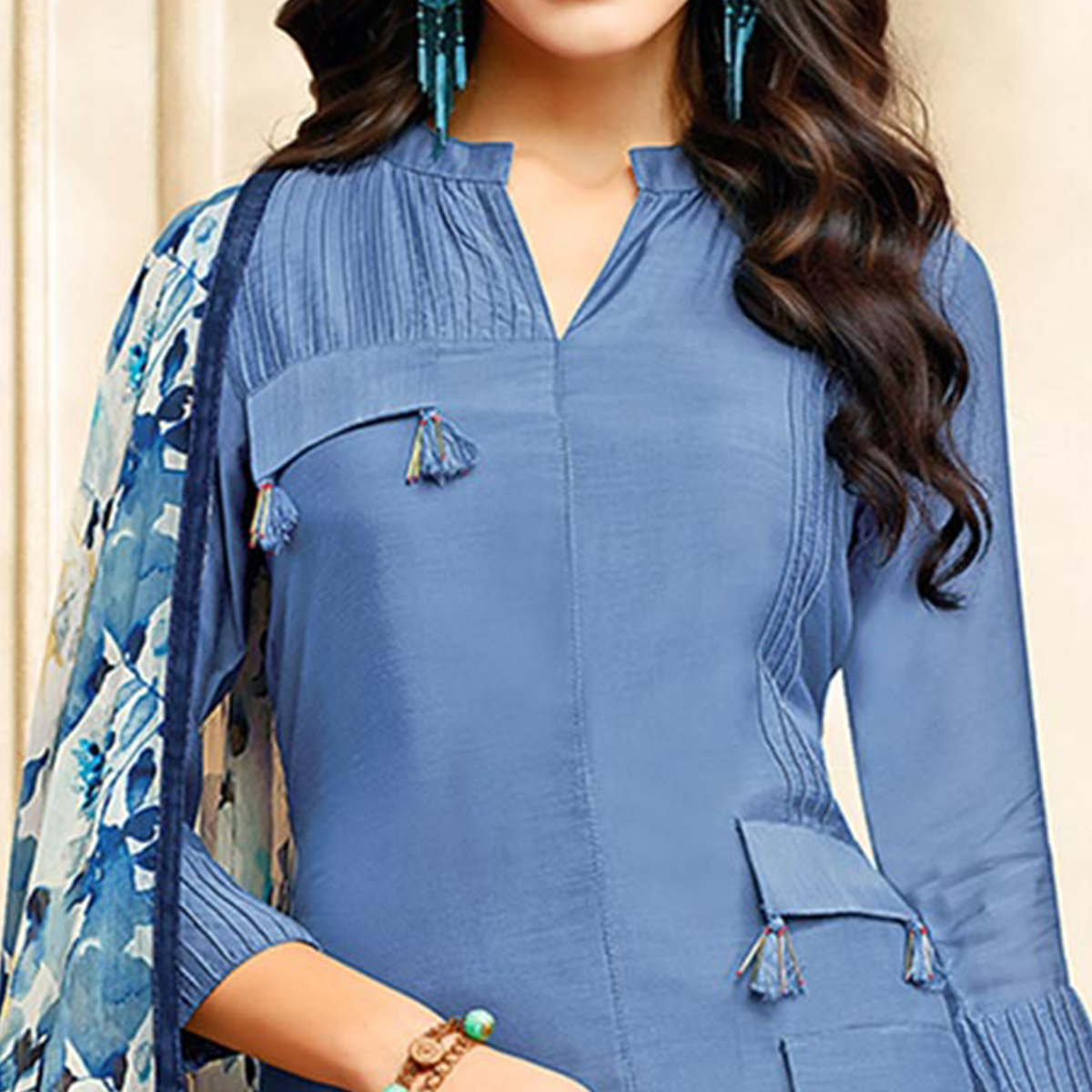 Radiant Stone Blue Colored Casual Printed Chanderi Silk Suit