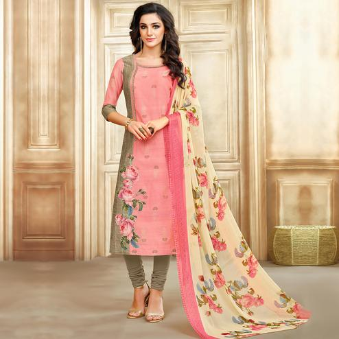 Sensational Pink Colored Casual Printed Chanderi Cotton Suit