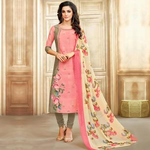 Sensational Pink Colored Casual Printed Chanderi Silk Suit