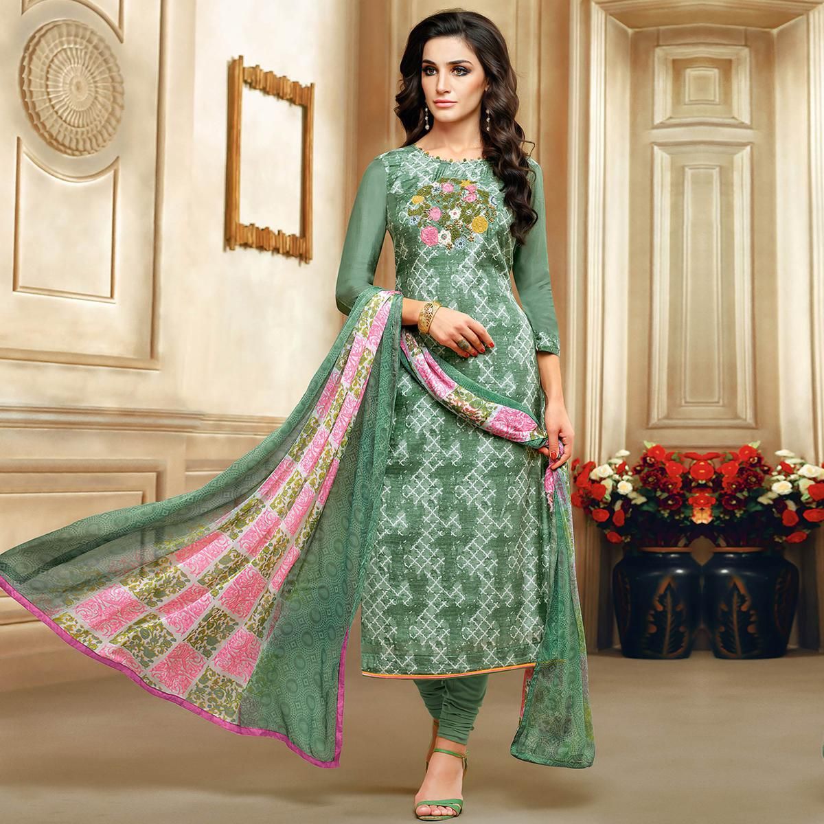 Opulent Green Colored Embroidered Chanderi Silk Suit