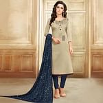 Dazzling Beige Colored Casual Printed Chanderi Silk Suit