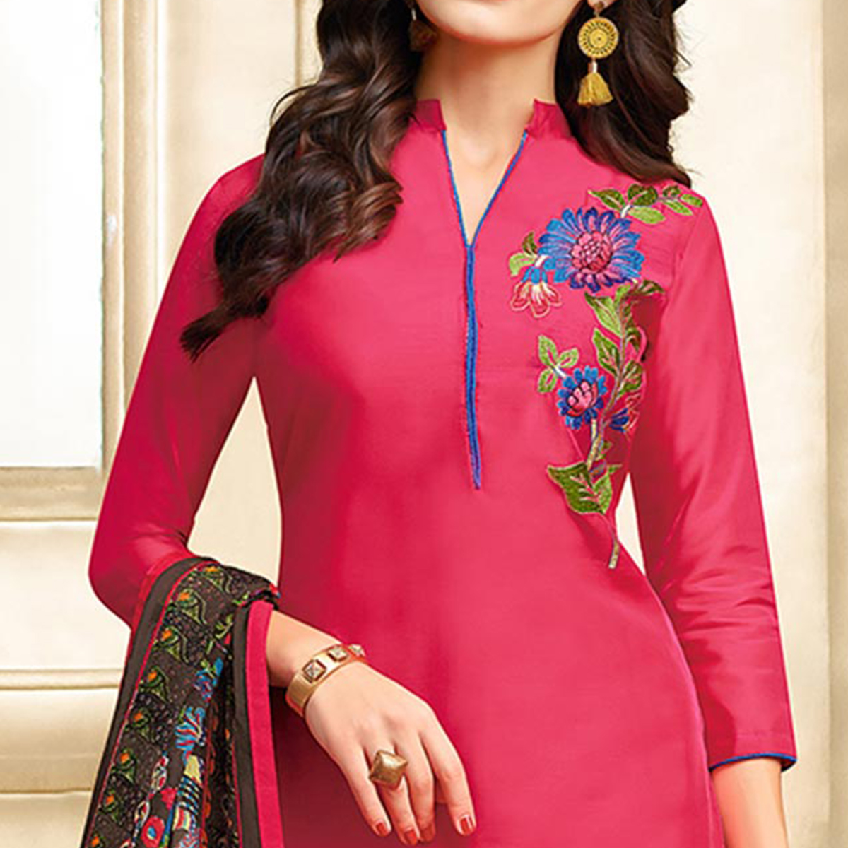 Flattering Pink Colored Embroidered Chanderi Cotton Suit