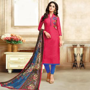 Flattering Pink Colored Embroidered Chanderi Silk Suit