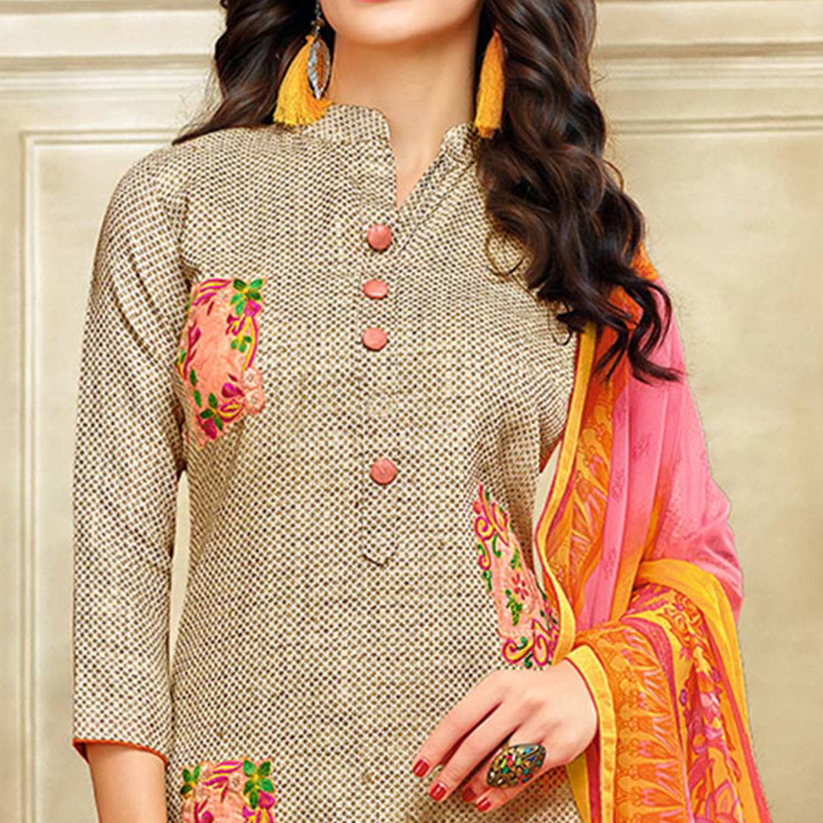 Breathtaking Beige Colored Embroidered Chanderi Silk Suit