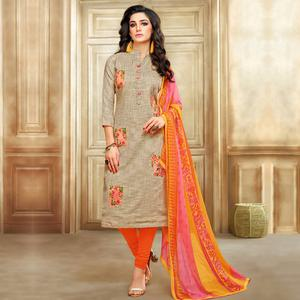 Breathtaking Beige Colored Embroidered Chanderi Cotton Suit