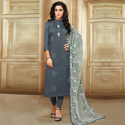 Impressive Dark Grey Colored Casual Printed Chanderi Cotton Suit