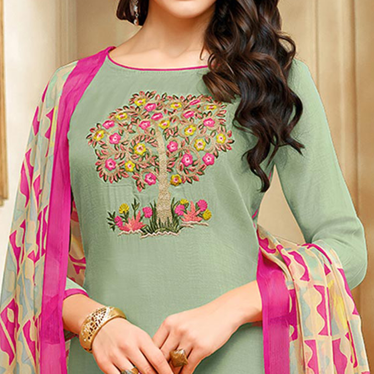 Innovative Mint Green Colored Embroidered Chanderi Silk Suit