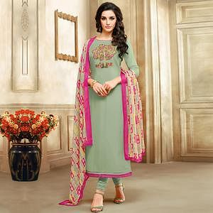 Innovative Mint Green Colored Embroidered Chanderi Cotton Suit