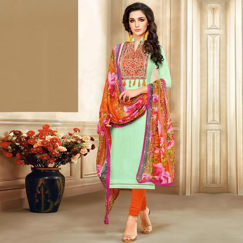 Gleaming Sea Green Colored Casual Printed Chanderi Silk Suit
