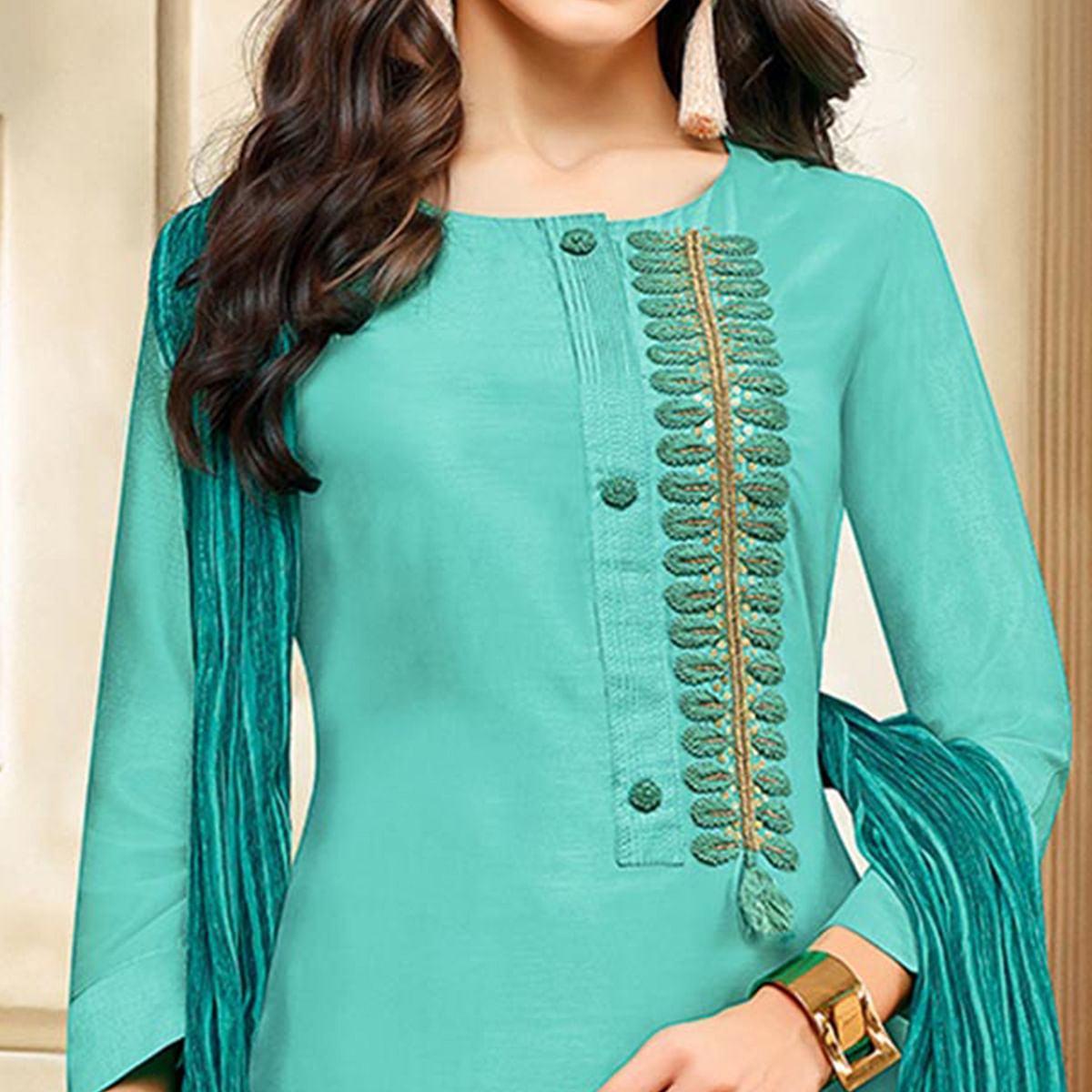 Arresting Aqua Blue Colored Embroidered Chanderi Silk Suit
