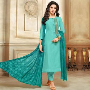 Arresting Aqua Blue Colored Embroidered Chanderi Cotton Suit
