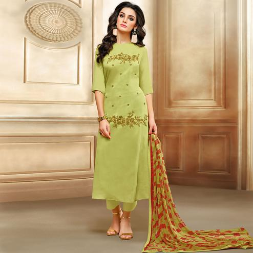 Exceptional Olive Green Colored Embroidered Chanderi Cotton Suit