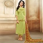 Exceptional Olive Green Colored Embroidered Chanderi Silk Suit