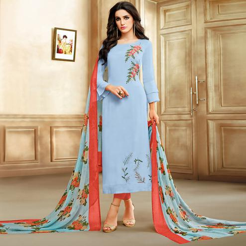 Excellent Light Steel Blue Colored Embroidered Chanderi Cotton Suit
