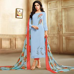 Excellent Light Steel Blue Colored Embroidered Chanderi Silk Suit