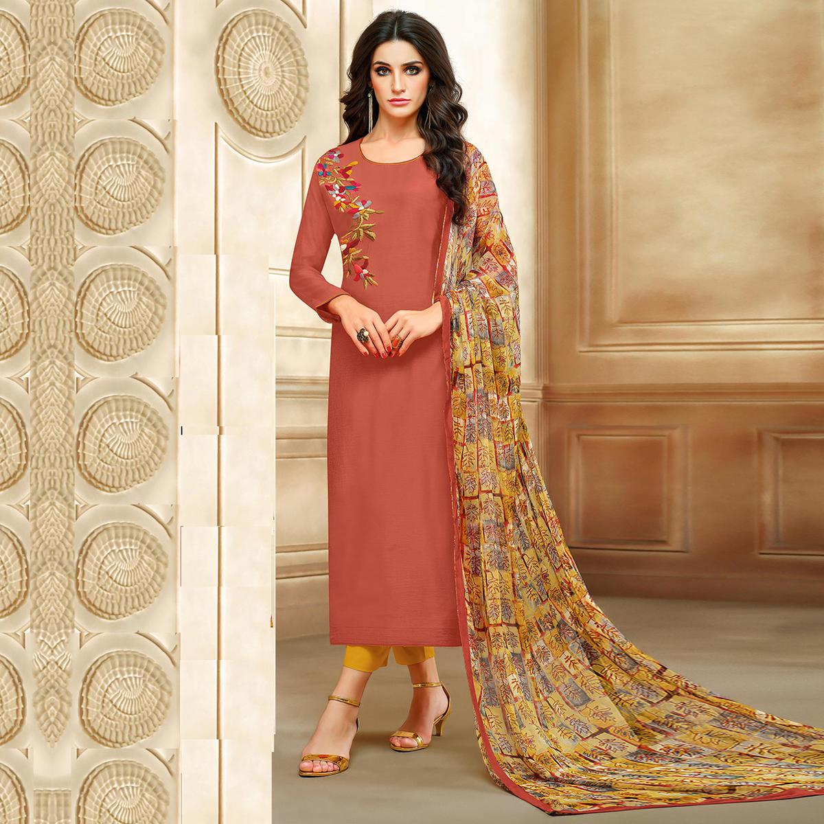 Ethnic Dark Coral Colored Embroidered Chanderi Silk Suit