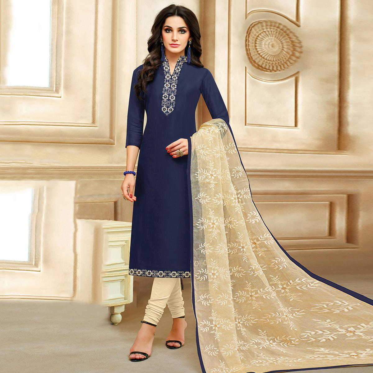 Starring Navy Blue Colored Embroidered Chanderi Silk Suit