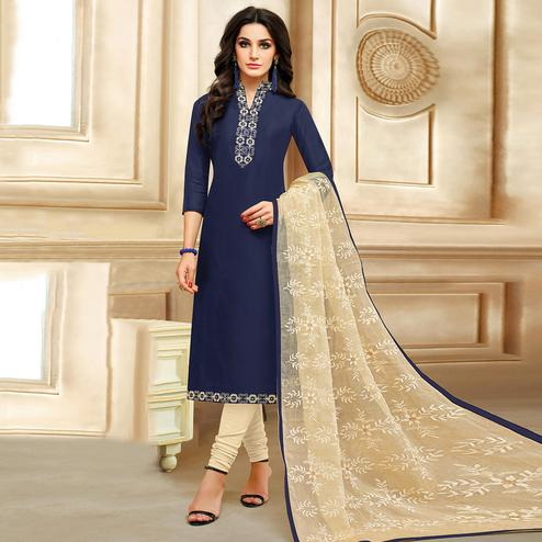 Starring Navy Blue Colored Embroidered Chanderi Cotton Suit