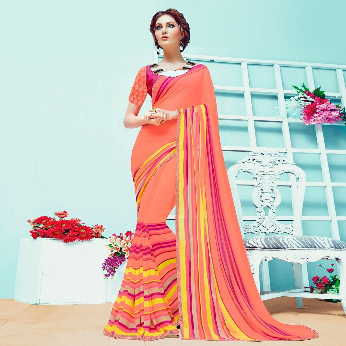 Stylish Orange Casual Wear Printed Georgette Saree