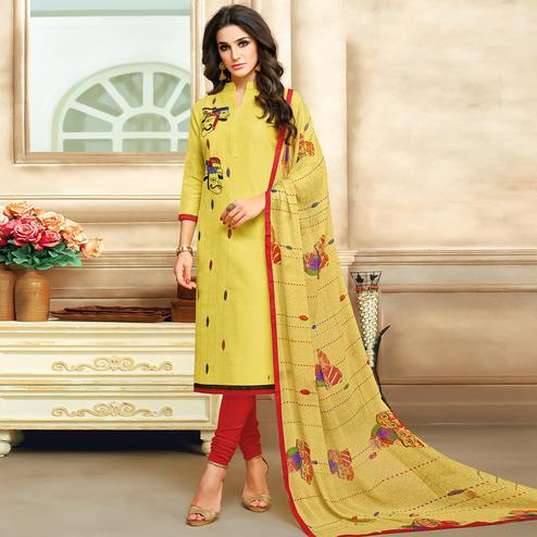 Surpassing Yellow Colored Embroidered Chanderi Cotton Suit