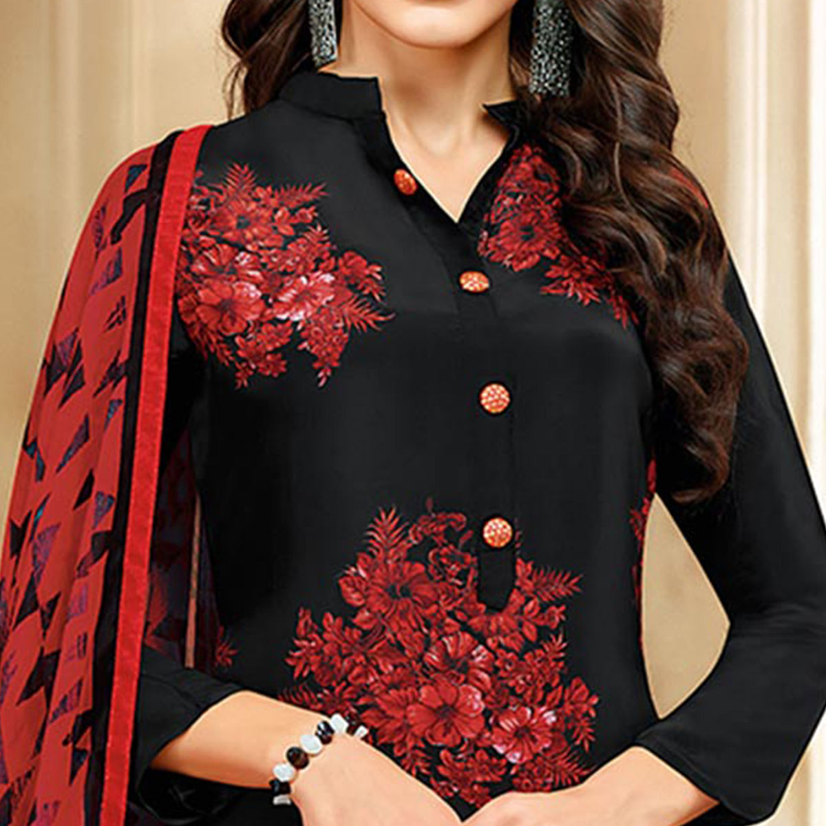 Entrancing Black Colored Casual Printed Chanderi Silk Suit