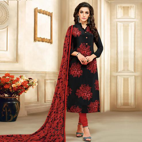 Entrancing Black Colored Casual Printed Chanderi Cotton Suit
