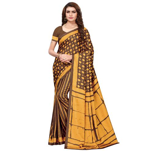 Lovely Brown-Mustard Colored Casual Printed Silk Saree
