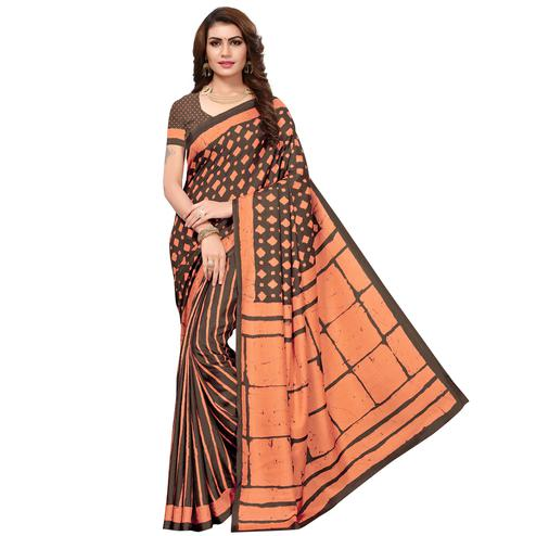 Pretty Brown-Peach Colored Casual Printed Silk Saree