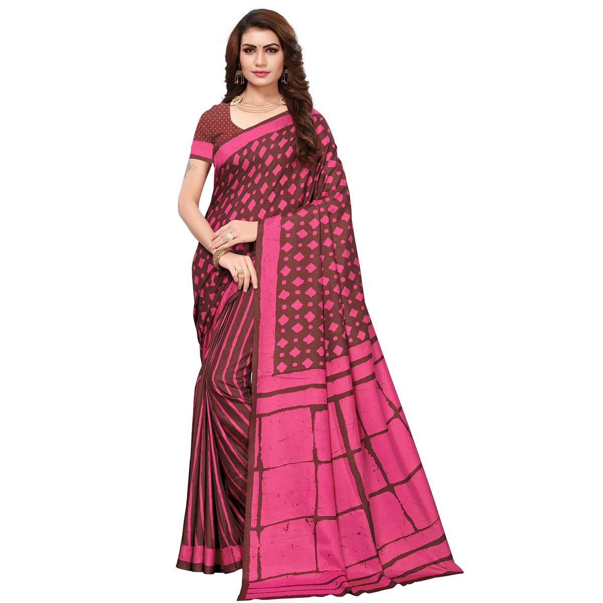Charming Brown-Pink Colored Casual Printed Silk Saree