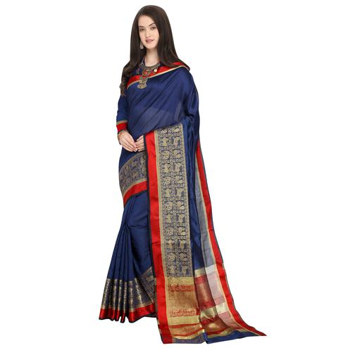 Pretty Navy Blue Colored Festive Wear Woven Art Silk Saree