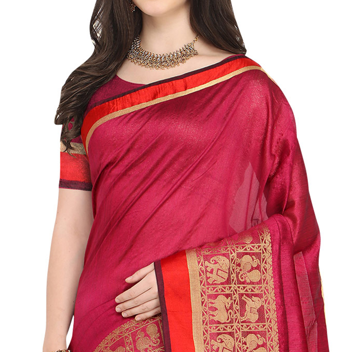 Charming Deep Pink Colored Festive Wear Woven Art Silk Saree