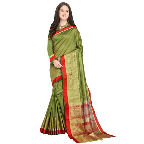 Ravishing Olive Green Colored Festive Wear Woven Art Silk Saree