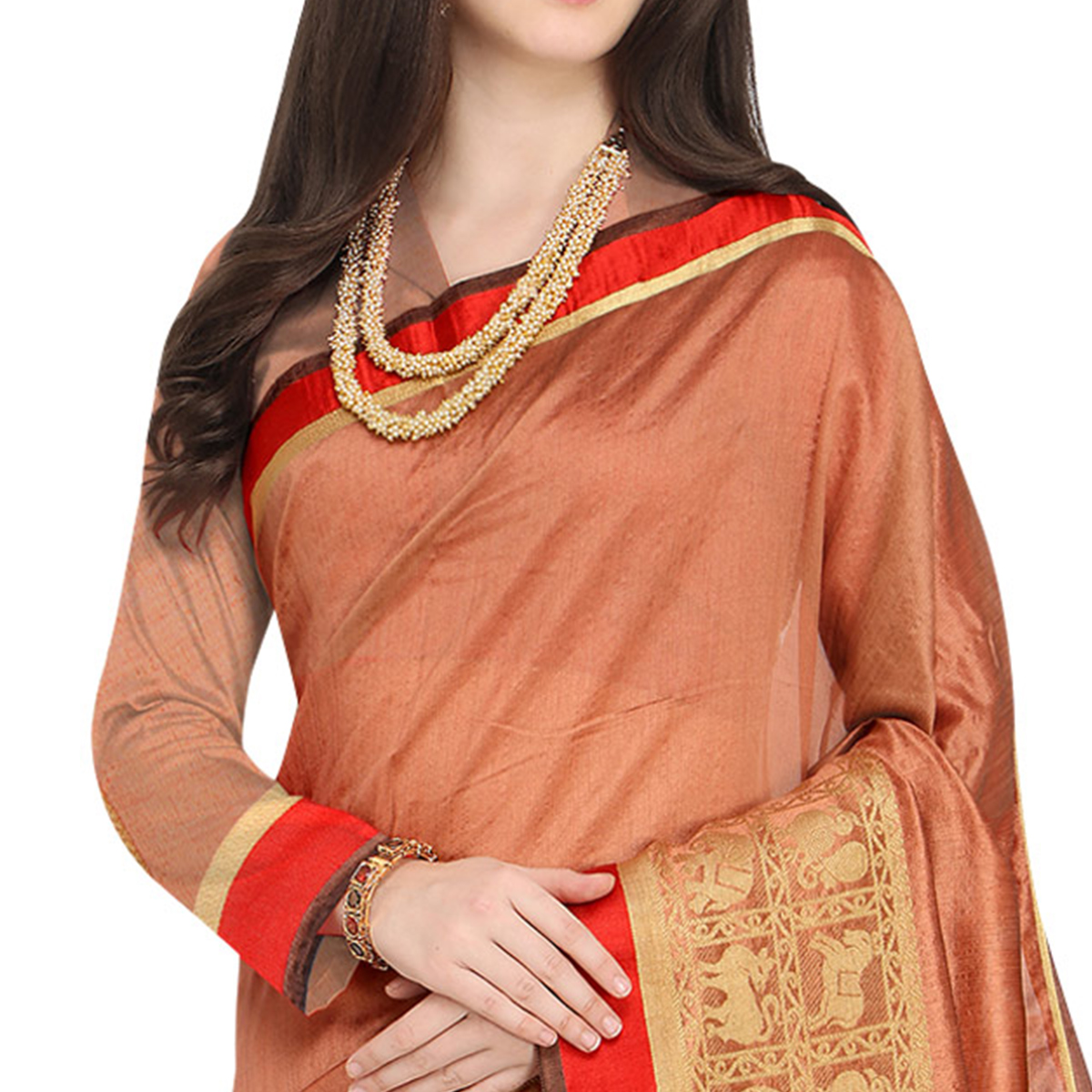 Delightful Peach Colored Festive Wear Woven Art Silk Saree