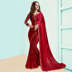 Stunning Red Casual Wear Printed Georgette Saree