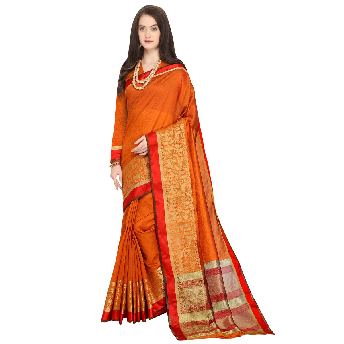 Stunning Orange Colored Festive Wear Woven Art Silk Saree