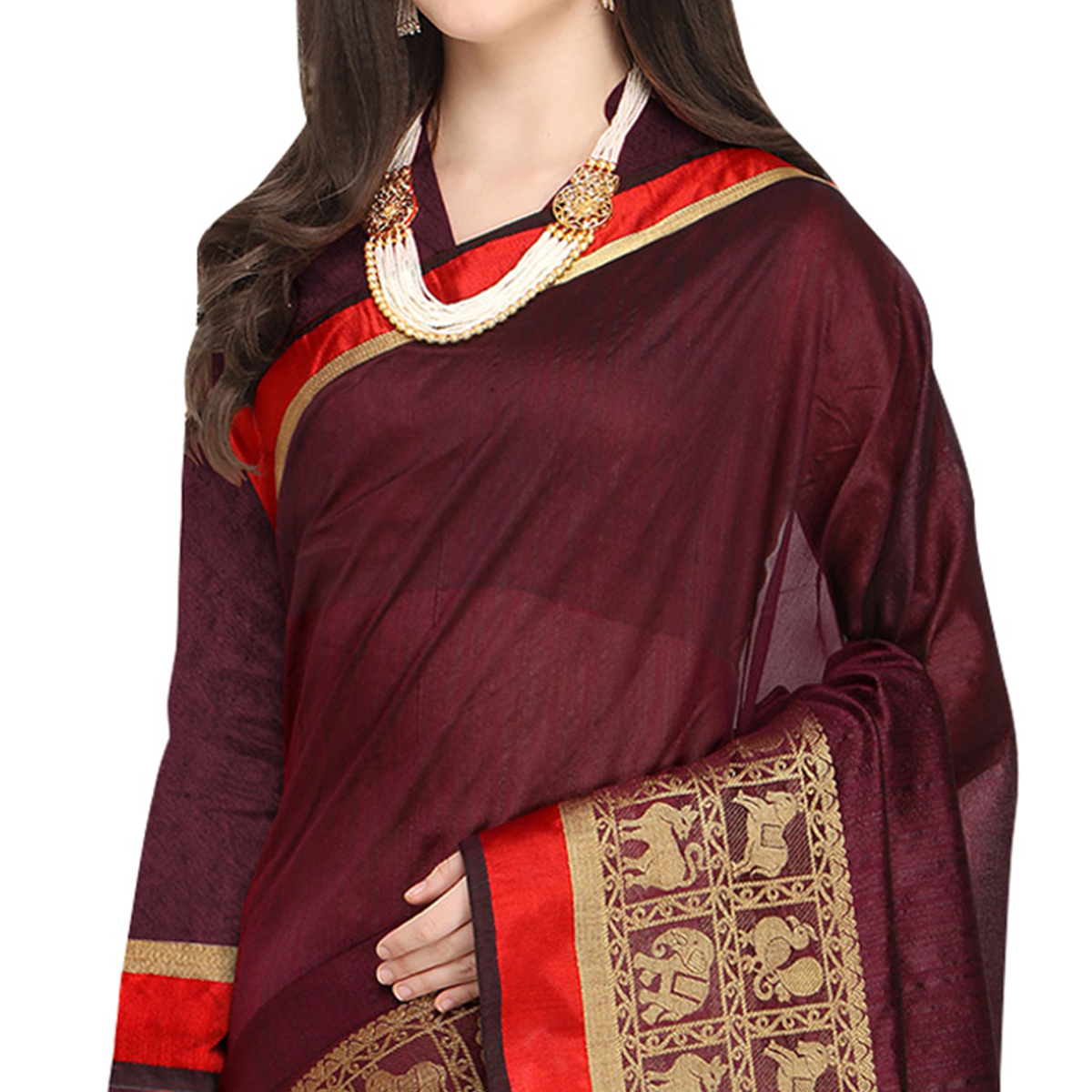 Blooming Wine Colored Festive Wear Woven Art Silk Saree