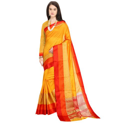 Marvellous Mustard Yellow Colored Festive Wear Woven Art Silk Saree