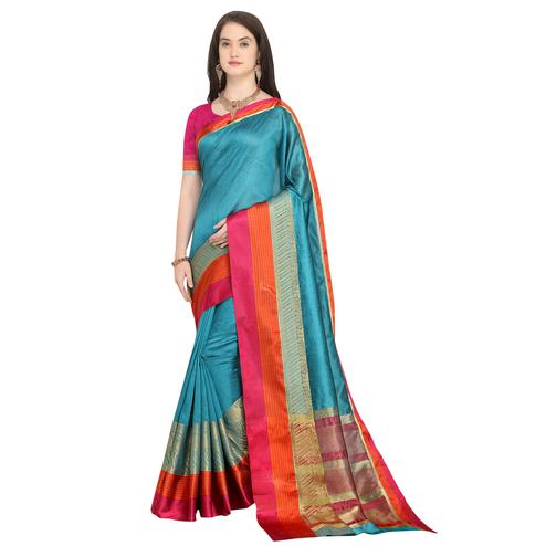 Ravishing Sky Blue Colored Festive Wear Woven Art Silk Saree