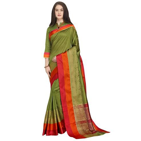 Eye-catching Olive Green Colored Festive Wear Woven Art Silk Saree